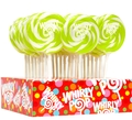 Bright Green & White Swirl Whirly Pops - Apple