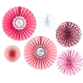 Pink Safari Baby Shower Paper Fan Decorations 6CT
