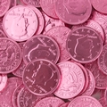 Dark Pink Chocolate Coins - 1 LB Bag
