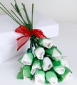 White Long-Stemmed Roses Confection - 12-Piece Bunch