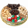 8-Inch Holiday Gold Beaded Gift Tray