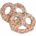 White Chocolate Covered Pretzels with Rainbow Nonpareils - 10CT Box