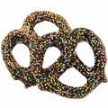 Chocolate Covered Pretzels with Rainbow Nonpareils - 10CT Box