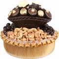 Round Dark Chocolate Bowl Basket - Chocolate & Nuts