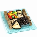 Purim Beveled Glass Tray w/Grape Juice