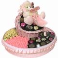 Round Baby Girl Gift Basket