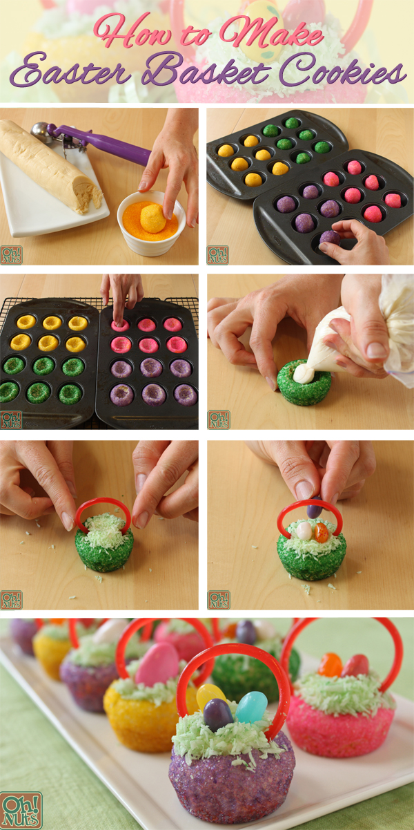 Easter basket cookies oh nuts blog how to make easter basket cookies negle Images