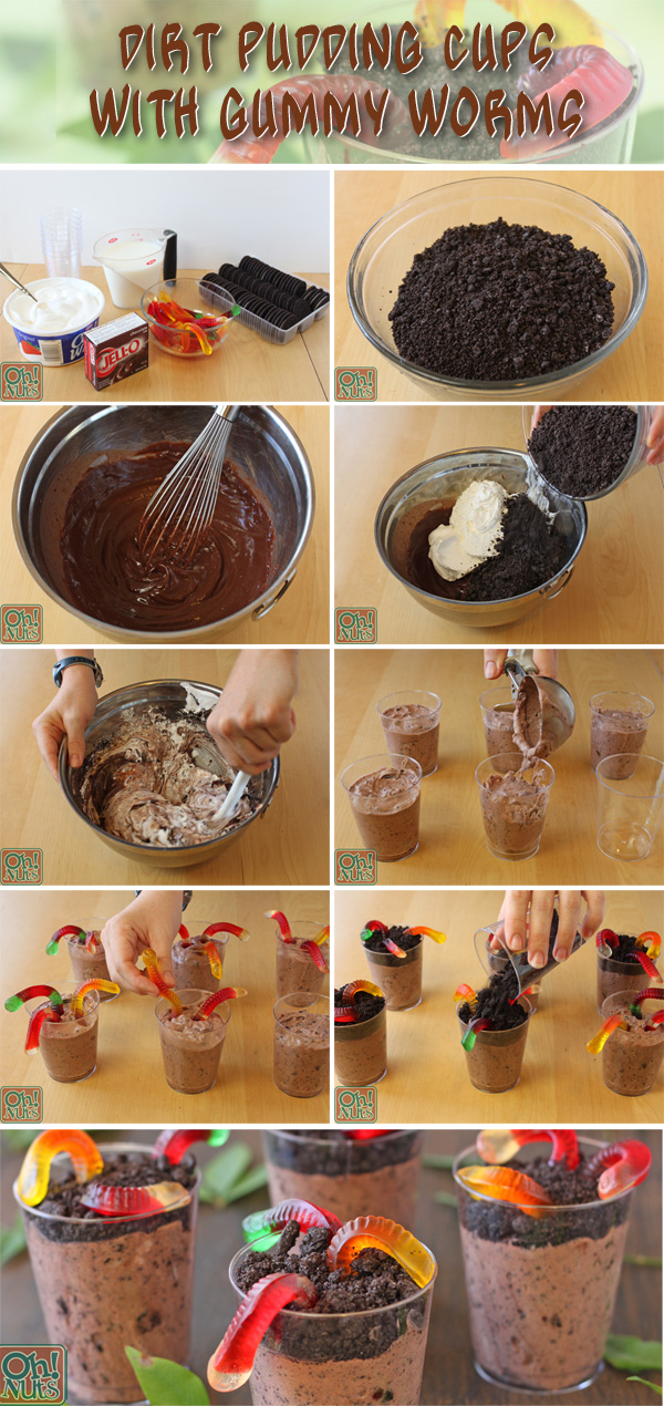 Dirt Pudding Cups With Gummy Worms Recipe Oh Nuts Blog