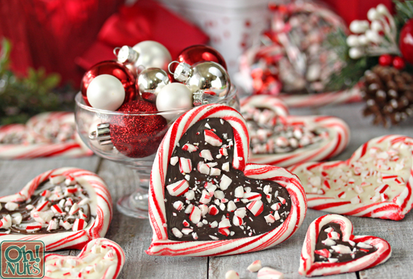peppermint bark candy cane hearts from ohnutscom - Peppermint Candy Christmas Ornaments
