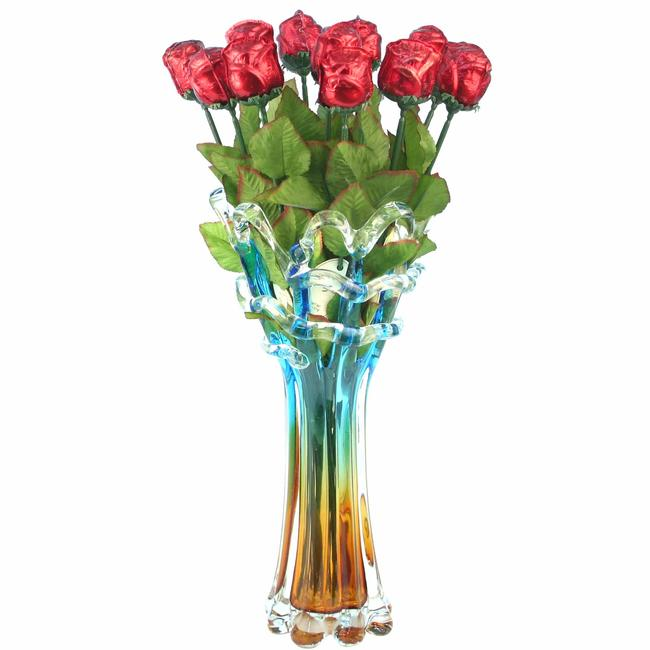 Dozen Of Red Milk Chocolate Roses Glass Vase Mother S Day Gifts Holiday Gifts Chocolate