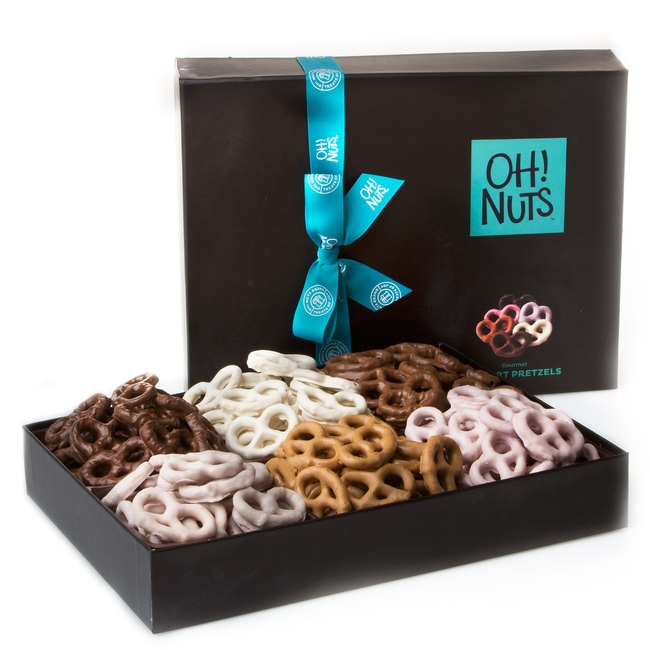 Chocolate covered pretzels gift basket assorted flavored