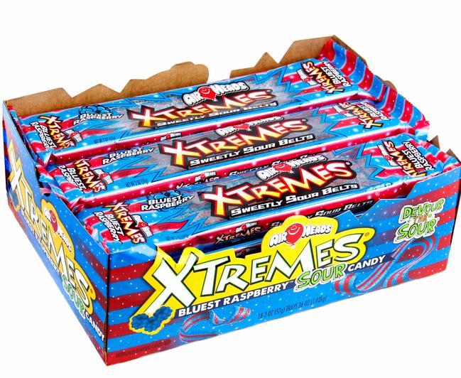 Airheads Xtremes Bluest Raspberry Sour Belts 18ct Box