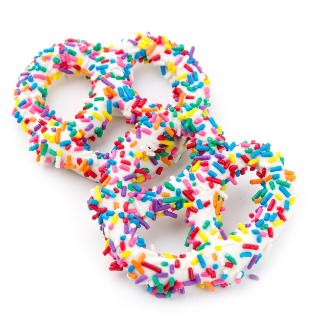 White Chocolate Covered Pretzels with Rainbow Sprinkles