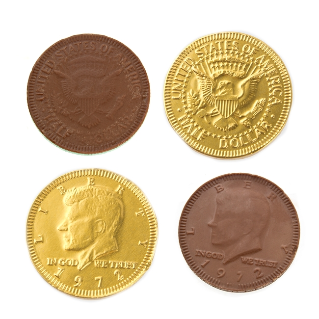 Chocolate coins in gold stock photo. Image of wrapped ...