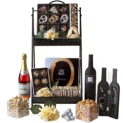 RESPECTFUL - 2 Tier Black Purim Gift Basket Mishloach Manos