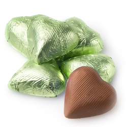 Leaf Green Foiled Milk Chocolate Hearts shaped