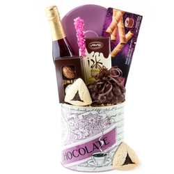 Purim Purple Chocolate Tin Basket