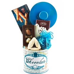 Purim Blue Chocolate Tin Basket