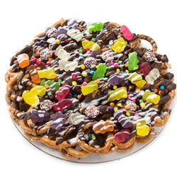 Chocolate Pretzel Pie With Gummy Bears
