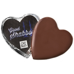 'Good Shabbos' Dark Belgian Chocolate Messgage Heart