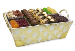 Gold Mesh Chocolate & Nut Basket - Israel Only