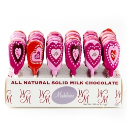 Valentine Milk Chocolate Lollipops - 60CT Display Box