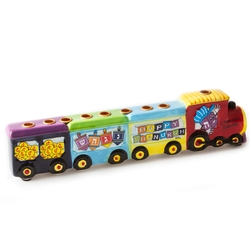Hanukkah Hand Painted Ceramic Train Kids Menorah