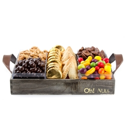Purim Large Rustic Nuts & Chocolate Gift Basket