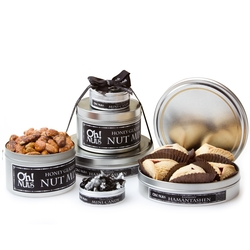 Silver Tins Tower Purim Gift Basket