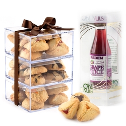Purim Fresh Mini Hamantaschen Box Tower With Grape Juice