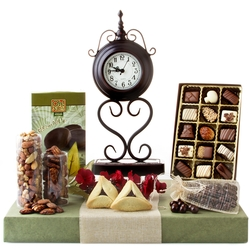 Purim Timeless Elegance Clock Gift Basket