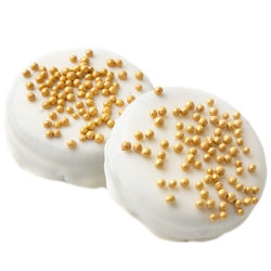 Gold Pearls White Chocolate Coated Sandwich Cookies