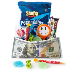 Purim Kids Colorful Dollar Money Purse Gift Mishloach Manos - 12 Pack