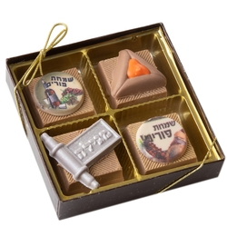 Purim Decorative Truffle Gift Box - 4CT
