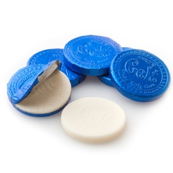 Hanukkah Raspberry Taffy Gelt Blue Coins - 6.10oz Bag