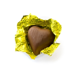 Yellow Foiled Milk Chocolate Hearts