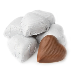 White Foiled Milk Chocolate Hearts shaped