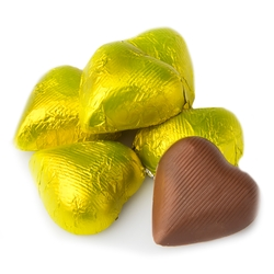 Yellow Foiled Milk Chocolate Hearts shaped