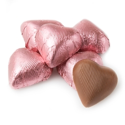 Light Pink Foiled Hearts shaped Chocolate