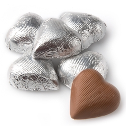 Silver Milk Chocolate Hearts shaped