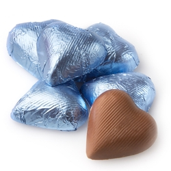 Pastel Blue Foiled Milk Chocolate Hearts shaped