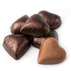 Brown Foiled Milk Chocolate Hearts shaped