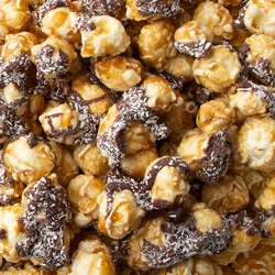 Chocolate Drizzled Caramel Popcorn with Coconut