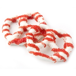 White Chocolate Covered Pretzels with Red Sugar Crystals