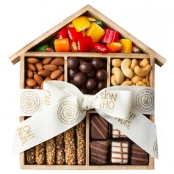 Wooden House Candy, Nuts & Chocolate Gift Basket