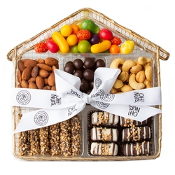 Wire Mesh House Candy, Nuts & Chocolate Gift Basket