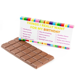 'Things I Really Want For My Birthday List' Humor Chocolate Bar Favor