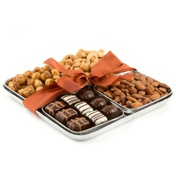 Four Section Hammered Nuts & Chocolates Tray