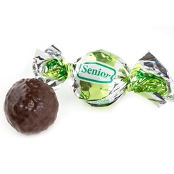 Senior Lime Green & Silver Dark Chocolate Praline with Chocolate Filling - 2.2 LB