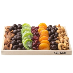 Tu B'Shvat Dried Fruit Wooden Gift Basket